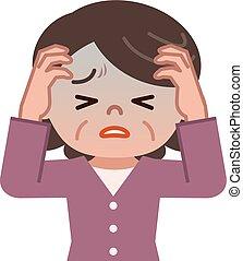 donne senior, sofferenza, mal testa