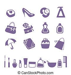donne, set, accessori, icona