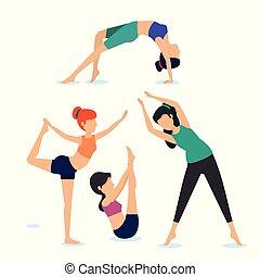 donne, set, esercizio, rilassamento