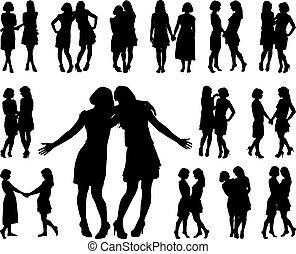 donne, silhouette, due, snello, giovane
