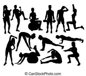 donne, silhouette, esercizio, idoneità