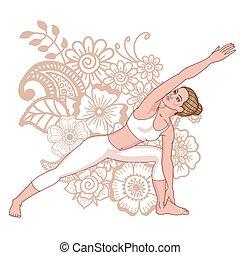 donne, silhouette., esteso, lato, angolo, yoga, pose.,...