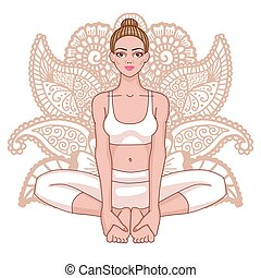 donne, silhouette., limite, angolo, yoga, pose., baddha,...