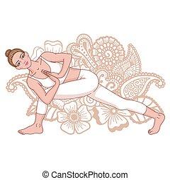donne, silhouette., revolved, lato, angolo, yoga, pose.