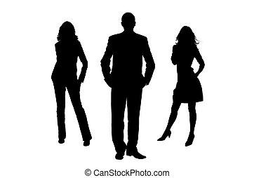 donne, silhouette, uomo
