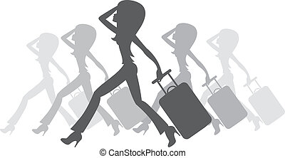 donne, silhouette, valigia