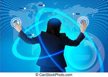 donne, soluzione, affari, mano