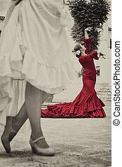 donne, spagnolo, quadrato città, ballerini, tradizionale, flamenco