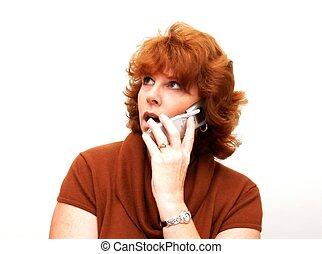 donne, su, telefono cellulare
