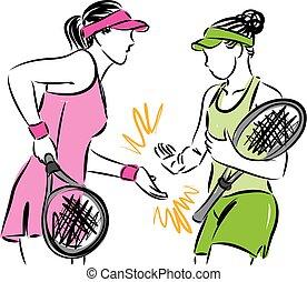 donne, tennis, illustrazione, squadra