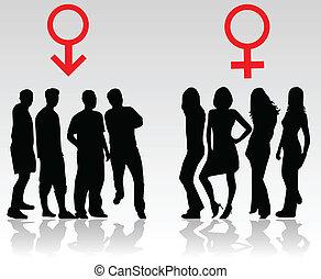 donne, uomini, -, combattimento, sesso