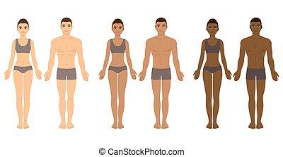 donne, uomini, diverso, toni, pelle