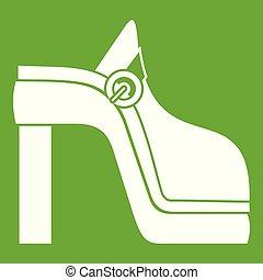 donne, verde, scarpa, icona