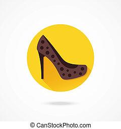 donne, vettore, scarpa, icona