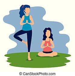 donne, yoga, esercizio, posa