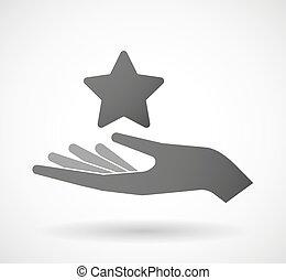 donner, étoile, main