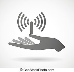 donner, antenne, main