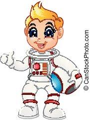 donner, astronaute, haut, pouce, dessin animé