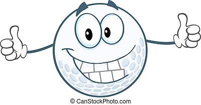 donner, balle, golf, haut, pouces