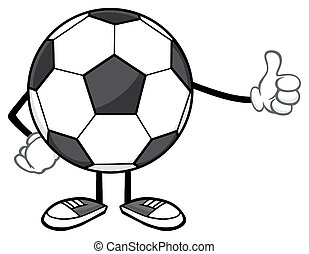 donner, boule football, pouce haut