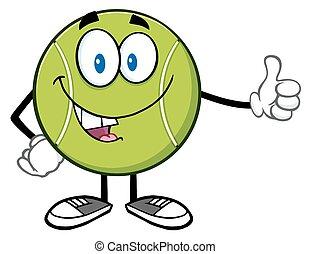 donner, boule tennis, pouce haut