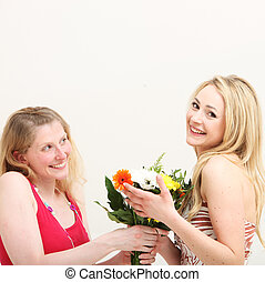 donner, bouquet, femme, ami, elle