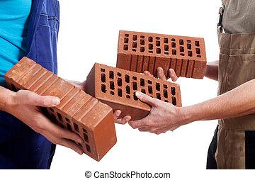 donner, briques, ouvriers, manuel