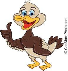 donner, canard, pouces haut, dessin animé