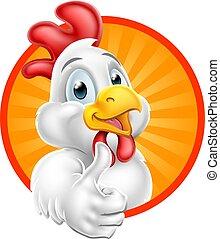 donner, caractère, haut, pouces, poulet, dessin animé