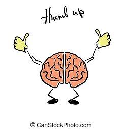donner, cerveau, caractère, pouce haut
