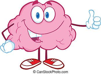 donner, cerveau, heureux, pouce haut