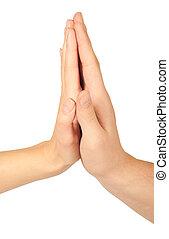 donner, chaque, deux, élevé, autre, cinq, mains