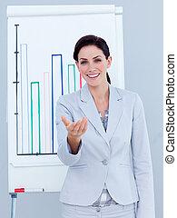 donner, charismatic, présentation, femme affaires