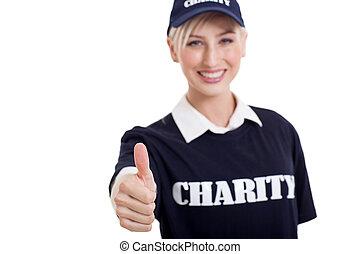 donner, charité, pouce haut, volontaire