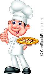 donner, chef cuistot, pizza, haut, pouces
