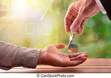 donner, clés, acheteur, agent, maison