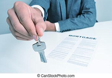 donner, clés, homme, complet