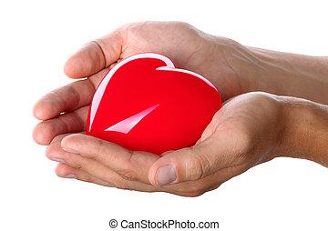 donner, coeur, mâle, rouges, mains