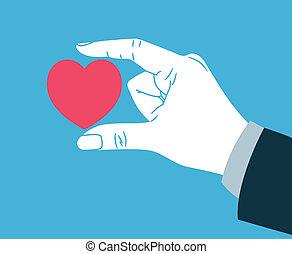 donner, coeur, symbole, main