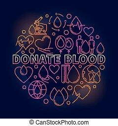 donner, coloré, sanguine, illustration, rond