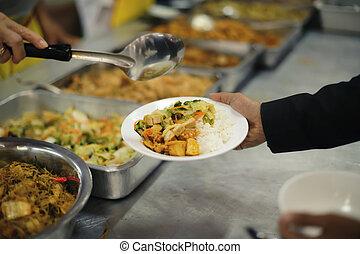 donner, concept, :, sdf, nourriture, charité, pauvre, chaud