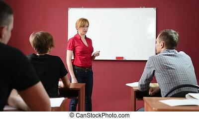 donner conférence, université, prof, femme