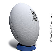donner coup pied, balle, rugby, tee, dentelles