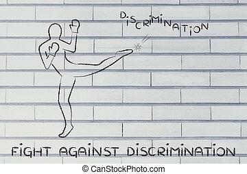 donner coup pied, boxe, mot, personne, discrimination