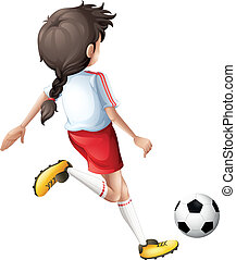 donner coup pied,  girl, football, balle