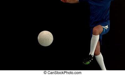 donner coup pied, joueur, boule football