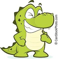 donner, crocodile, pouces haut