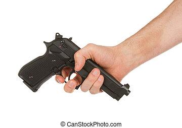 donner, désarmer, fusil, main