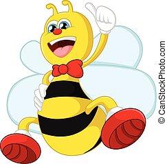 donner, dessin animé, abeille, haut, pouce