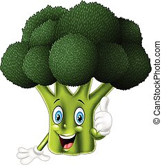 donner, dessin animé, brocoli, haut, pouces